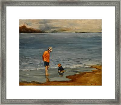 Framed Print featuring the painting Family On Beach by Lindsay Frost