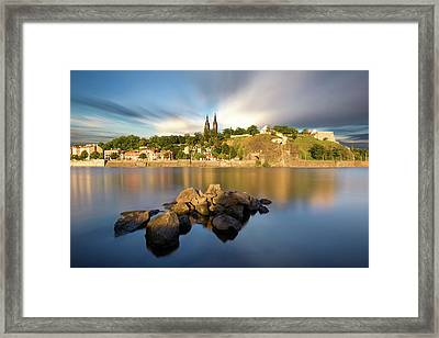 Famous Vysehrad Church During Sunny Day. Amazing Cloudy Sky In Motion. Vltava River, Prague, Czech Republic Framed Print