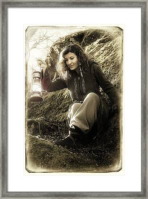 Fantasy Beautiful Woman With Color Light Lamps In The Moss Rocks Framed Print by Jozef Klopacka