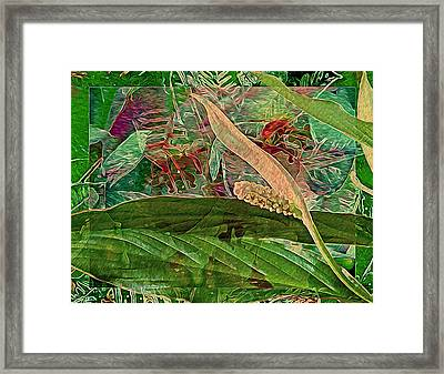 Fantasy With African Violets And Peace Lily Yellow And Green Framed Print by Lynda Lehmann