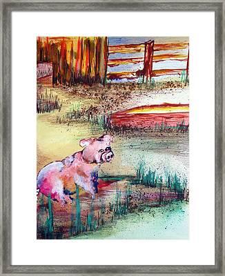 Farm Piggy Framed Print by Tammera Malicki-Wong