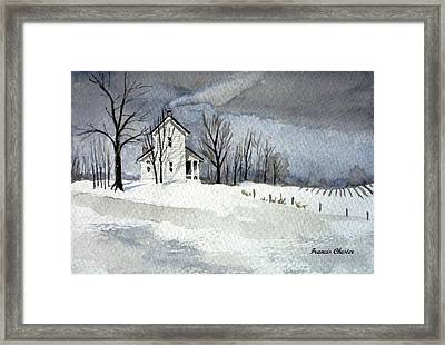 Farmhouse In Winter Framed Print