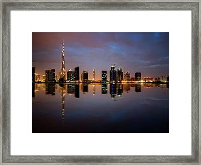 Fascinating Reflection Of Tallest Skyscrapers In Bussiness Bay D Framed Print