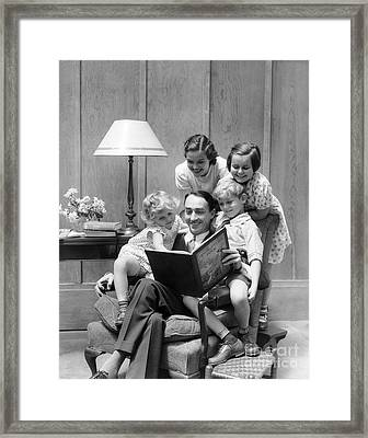 Father Reading To Family, C.1930s Framed Print