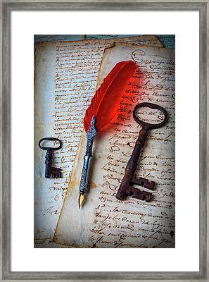 Feather Pen And Old Keys Framed Print by Garry Gay