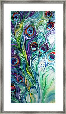 Feathers Peacock Abstract Framed Print by Marcia Baldwin