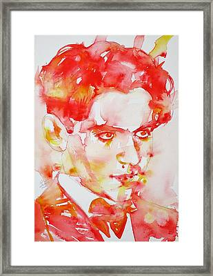 Framed Print featuring the painting Federico Garcia Lorca - Watercolor Portrait by Fabrizio Cassetta