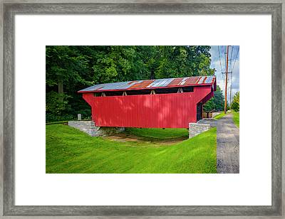 Feedwire Covered Bridge - Carillon Park Dayton Ohio Framed Print by Jack R Perry