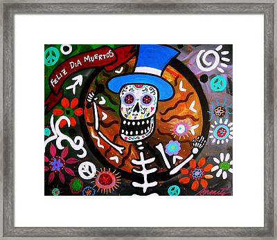 Feliz Dia Muertos Framed Print by Pristine Cartera Turkus