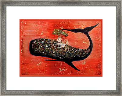 Fenced Unicorn Tapestry Framed Print by Theresa LaBrecque