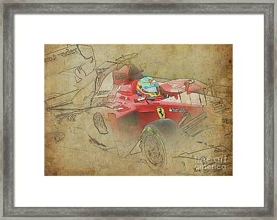 Ferrari Race Car, Gift For Men, Brown Background Framed Print by Pablo Franchi