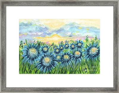 Field Of Blue Flowers Framed Print