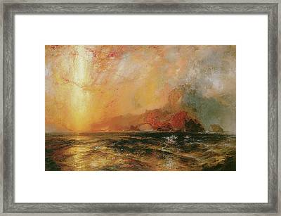 Fiercely The Red Sun Descending Burned His Way Along The Heavens Framed Print by Thomas Moran