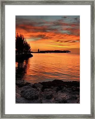 Framed Print featuring the photograph Fiery Sunset Reflections by Stephen  Vecchiotti