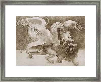 Fight Between A Dragon And A Lion Framed Print by Leonardo Da Vinci