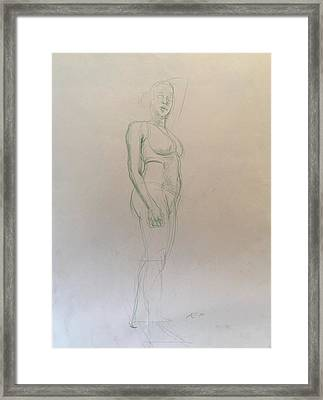 Figure Sketch Framed Print by Alejandro Lopez-Tasso
