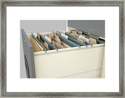 Filing Cabinet Drawer Open Tax Framed Print by Allan Swart