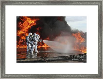 Firefighting Marines Battle A Huge Framed Print by Stocktrek Images