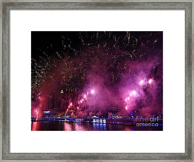 Framed Print featuring the photograph Fireworks Along The Love River In Taiwan by Yali Shi