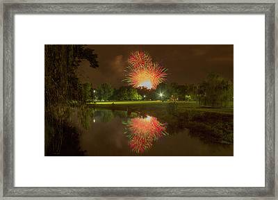 fireworks during Fair St Louis in Forest Park Framed Print