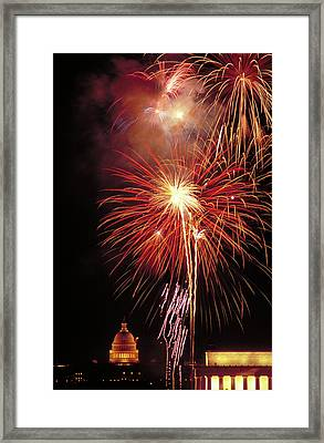 Fireworks Over The Washington Mall Framed Print by Carl Purcell