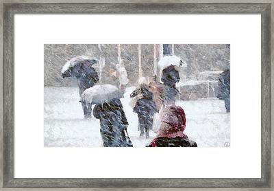 Framed Print featuring the digital art First Snow by Gun Legler