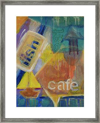 Framed Print featuring the painting Fish Cafe by Susan Stone