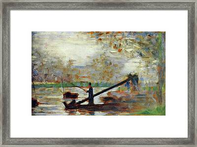Fisherman In A Moored Boat Framed Print