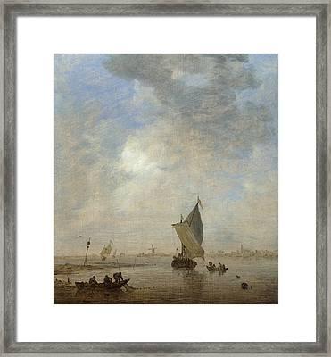 Fishermen Hauling A Net Framed Print