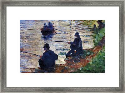 Fishermen On The Banks Of The Seine Framed Print