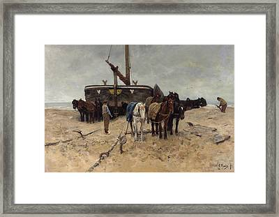 Fishing Boat On The Beach Framed Print