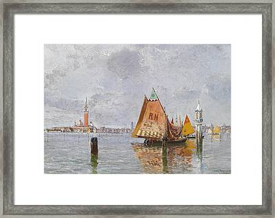 Fishing Boats In The Lagoon Of Venice Framed Print by Carlo Brancaccio