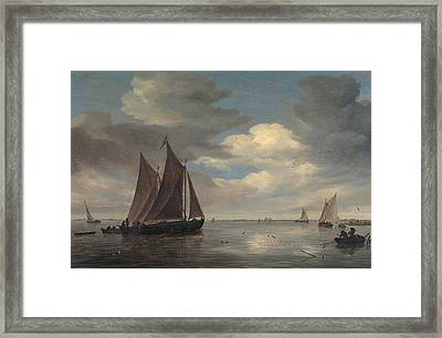 Fishing Boats On A River Framed Print