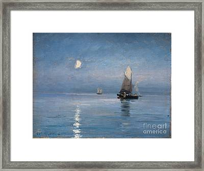 Fishing Cutters In The Moonlit Night Framed Print by Celestial Images