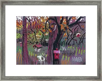 Five Birdhouses Framed Print by Donald Maier