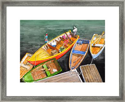 Five Boats In Rockport Harbor Framed Print