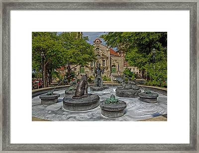 Five Points Fountain - Birmingham Alabama Framed Print by Mountain Dreams