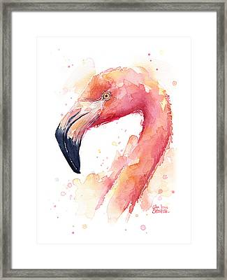 Flamingo Watercolor  Framed Print by Olga Shvartsur