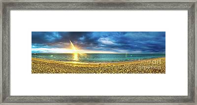Flic En Flac Beach At Sunset. Panorama Framed Print