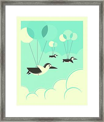 Flock Of Penguins Framed Print by Jazzberry Blue