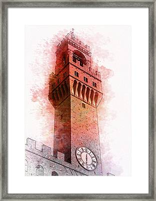 Florence Town Hall Tower - By Diana Van Framed Print by Diana Van