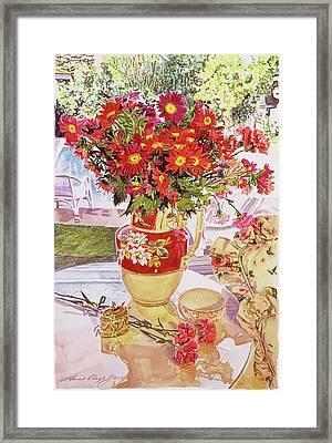Flower Jug In The Window Framed Print