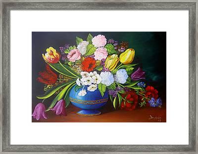 Flowers In A Vase Framed Print by Dominica Alcantara