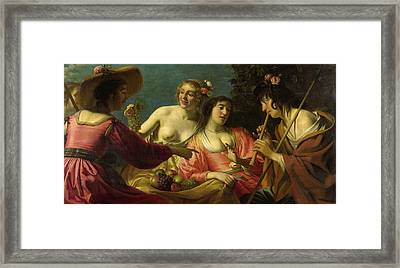 Flute Playing Shepherd And Four Nymphs Framed Print