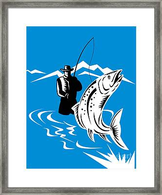 Fly Fisherman Catching Trout Framed Print