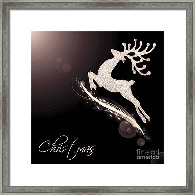 Flying Santa's Reindeer Framed Print by Anna Om