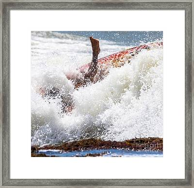 Foot Immersed In The Surf Framed Print by Massimo Lama