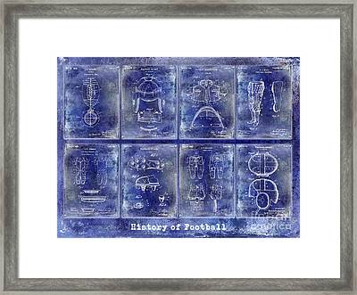 Football Patent History Blue Framed Print
