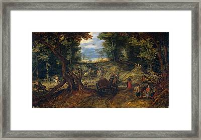 Forest With A Creek Crossing Wagons And Riders Framed Print by Jan Brueghel the Elder