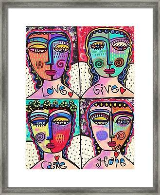 Four Gemstone Angels  Framed Print by Sandra Silberzweig